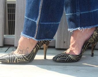 Sparkle (Black/Gold Glitter 80s Vintage Stilettos Size 7.5)