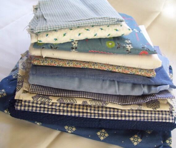 Vintage Fabric Scrap Lot Blue