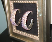 Crystal AB Swarovski Rhinestone Hoop Earrings