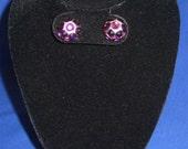 Amethyst Swarovski Crystal Rhinestone  Large Stud Earrings