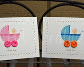 Baby Shower Thank You Cards - Baby Carriage Print with Buttons - Set of 10