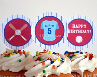 Personalized Baseball Birthday Cupcake Toppers - Uniform, Baseball, Bat - DIY Printable Digital File
