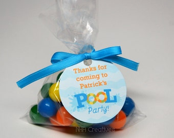 Personalized Pool Party Favor Tag - Personalized DIY Printable Digital File