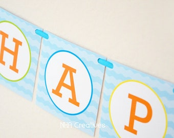 Happy Birthday Pool Party Banner - DIY Printable Digital File
