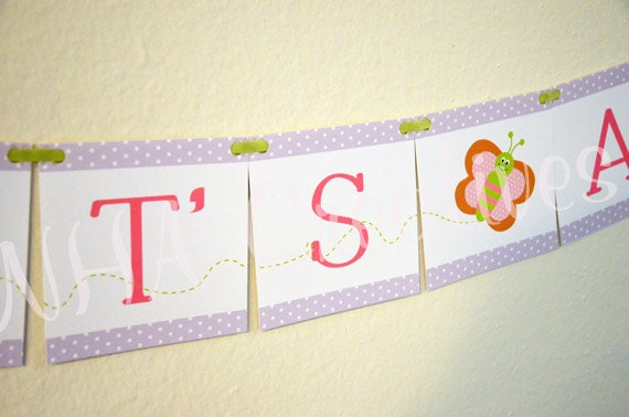 It's A Girl - Butterfly Baby Shower Banner -  DIY Digital Printable Banner