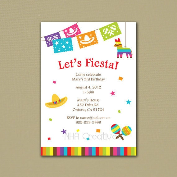 fiesta birthday invitation personalized diy printable, Birthday invitations