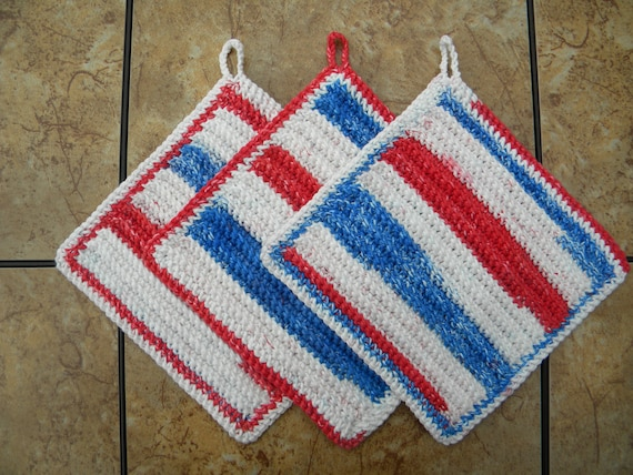 Red, White, and Blue Patriotic Cotton Wash Cloths (Set of 3) - CLEARANCE - Firecracker Popsicle - 4th of July Home Decor - Ready to Ship