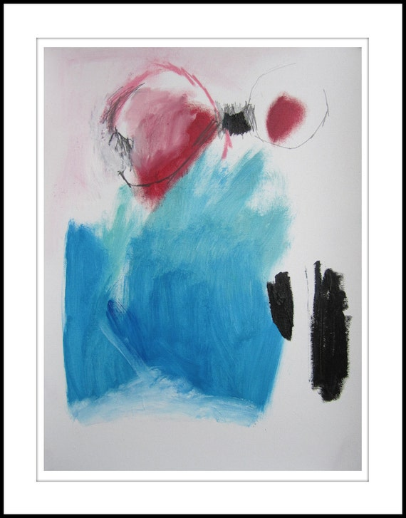 Original abstract painting blue red white black