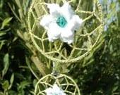 Spring lily hoop earrings, beautiful crochet white water lily on the green net, Summer fashion, lace earrings, Rustic style