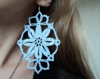 Bright lace royal earrings, glossy metallic silver thread, winter earrings, Victorian wedding earrings, New Years style, bold earrings