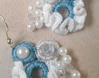 Artistic, beautiful, tiny, ruffle earrings inspired by sea foam, decorated with Swarovski crystals and pearls