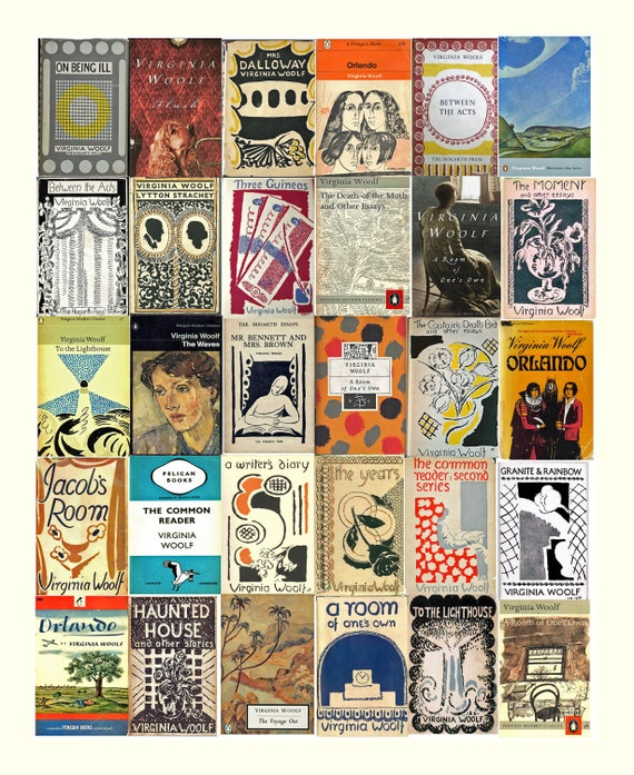 Book Cover Art Etsy ~ Virginia woolf book covers fine art print inches
