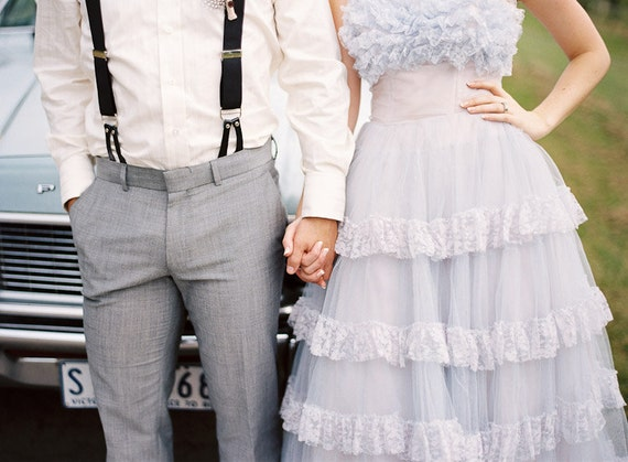 Reserved for jimjamgurrl - 1950's Powder Blue and Baby Pink Tea Length Wedding/Prom Dress