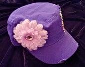 PURPLE CADET HAT with purple flower & skull/rhinestone accents