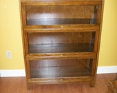 Antique Oak Three Section Barrister Bookcase