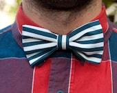 Nautical Love Blue & White Striped Bow Tie