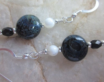 Black, white and blue earrings with sterling silver wires