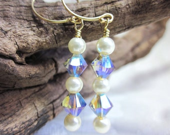 Crystal and pearl earrings with gold wires