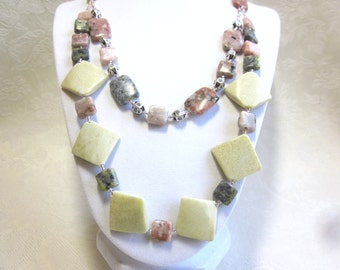 Pink and green necklace, double strands, pink lepidolite
