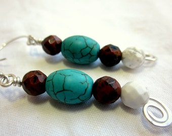 Turquoise and silver earrings, Argentium sterling silver, brown and white