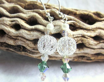 Silver and green earrings with Swarovski crystals, pearls