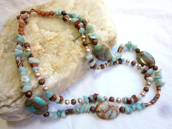 Reserved for Claudia Barnhill Aqua and brown necklace, amazonite, goldstone, aqua terra jasper, copper, two strands