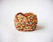 OOAK yellow, green & orange vintage woven fabric, turk head knot bracelet / only 1 available