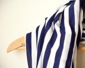 vintage woven fabric circle scarf, white & navy