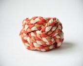 OOAK orange, light beige & camel turk head knot, vintage, woven fabric bracelet