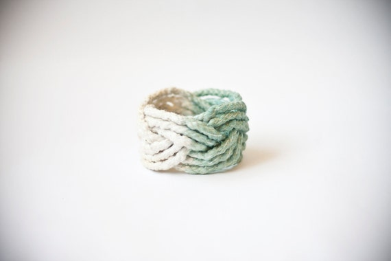SALE ombre, mint green and nude big cotton, turk head knot bracelet