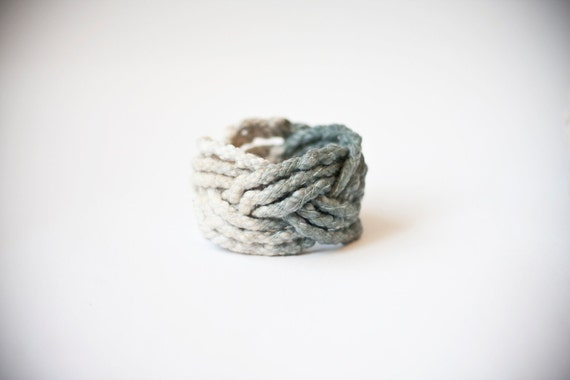 SALE ombre big cotton thread turk head knot bracelet / bleu grey