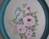 Shabby romantic painting of romantic bluebirds and pink roses.