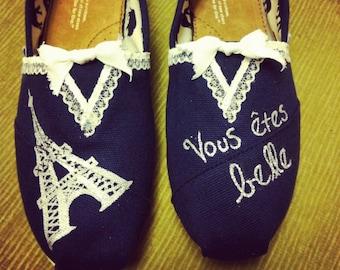 Custom Women's French Lace Paris Toms Shoes