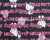 2103 - cotton fabric- cartoon character - Hello Kitty on black - 1 meter