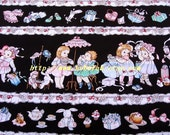 2004A - 1 meter cotton fabric  - Girls/shoes/bag - black