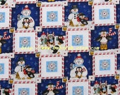2006 - 1 meter Cotton fabric  - Patch - snowman and snowflower