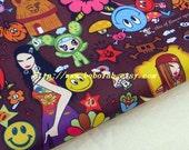 "3150B  - 1 yard Vinyl Waterproof Fabric  - Cartoon - girl flower and baby  - brown   - 57""x36"""
