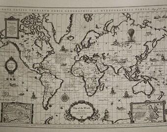 6901 - Retro Cotton Linen Fabric - Antique World Map - 71cm x 145cm