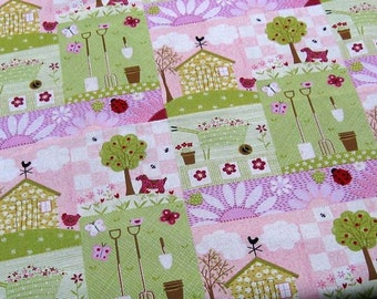 6303 -  Cotton Linen Blend Fabric-Ladybug/dog/chiken in the garden - by the yard