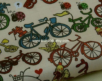 "3041A  - 1 yard Vinyl Waterproof Fabric -Bicycle (Yellow)  - 57""x36"""
