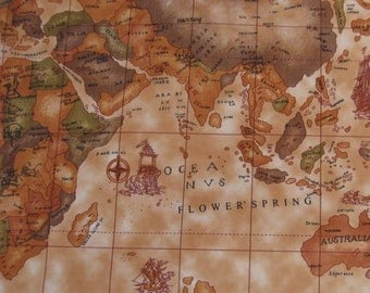 Old map fabric etsy studio 3060 1 yard vinyl waterproof fabric old world map brown 57x36 gumiabroncs Image collections