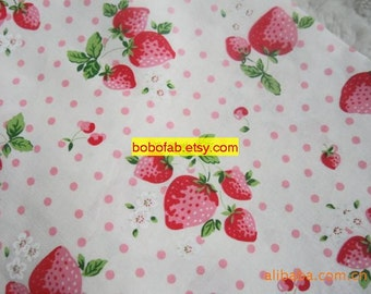 6037A - 1 yard Cotton Linen Fabric - Strawberry and Dot (Pink)
