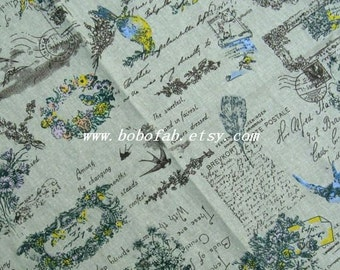 6335D  - Cotton Linen Blend Fabric - Swallow and garland on  Blue green - by the yard