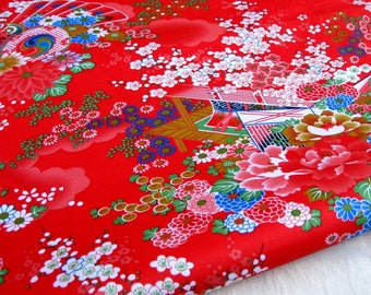 "3103B  - 1 yard  Vinyl Waterproof Fabric - Japanese Traditional Style, Courtyard  (red)  - 57""x36"""