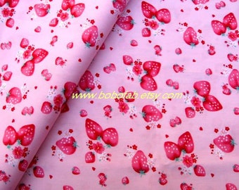 2002B - 1 meter cotton fabric  - Fruit - Straberry on Light Pink