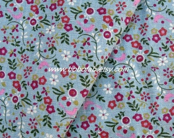 6321C - Cotton Linen Blend Fabric - Bird And Flora  (blue) - by the yard