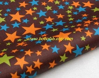 "3124A  - 1 yard Vinyl Waterproof Fabric - Colorful stars (Deep Brown)  - 57""x36"""