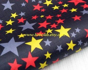 "3124C  - 1 yard Vinyl Waterproof Fabric - Colorful stars (Blakc)  - 57""x36"""