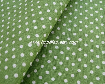 6343F - Cotton Linen Blend Fabric - Dots  (Green) - by the yard