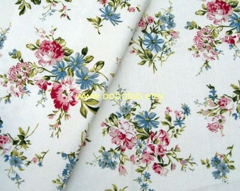 6359 - Cotton Linen Blend Fabric - Flower - peony - by the yard